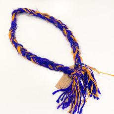 Epiphany Throws Braided Silk Necklace- blue/orange