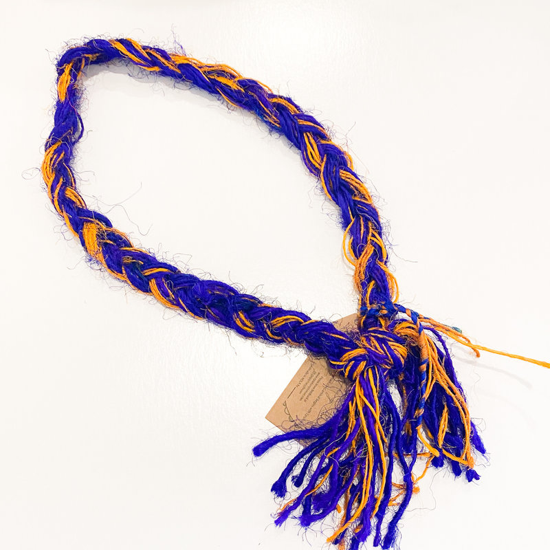 Epiphany Throws Braided Silk Necklace- blue/orange