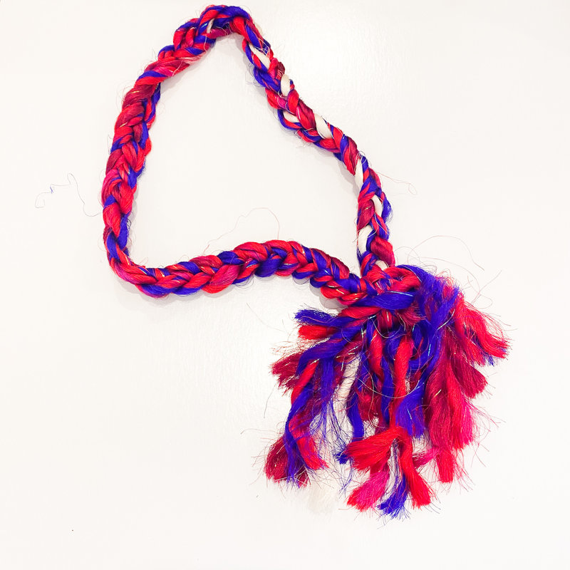 Epiphany Throws Braided Silk Necklace- red/blue
