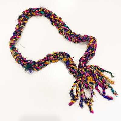Epiphany Throws Braided Silk Necklace- multi-color