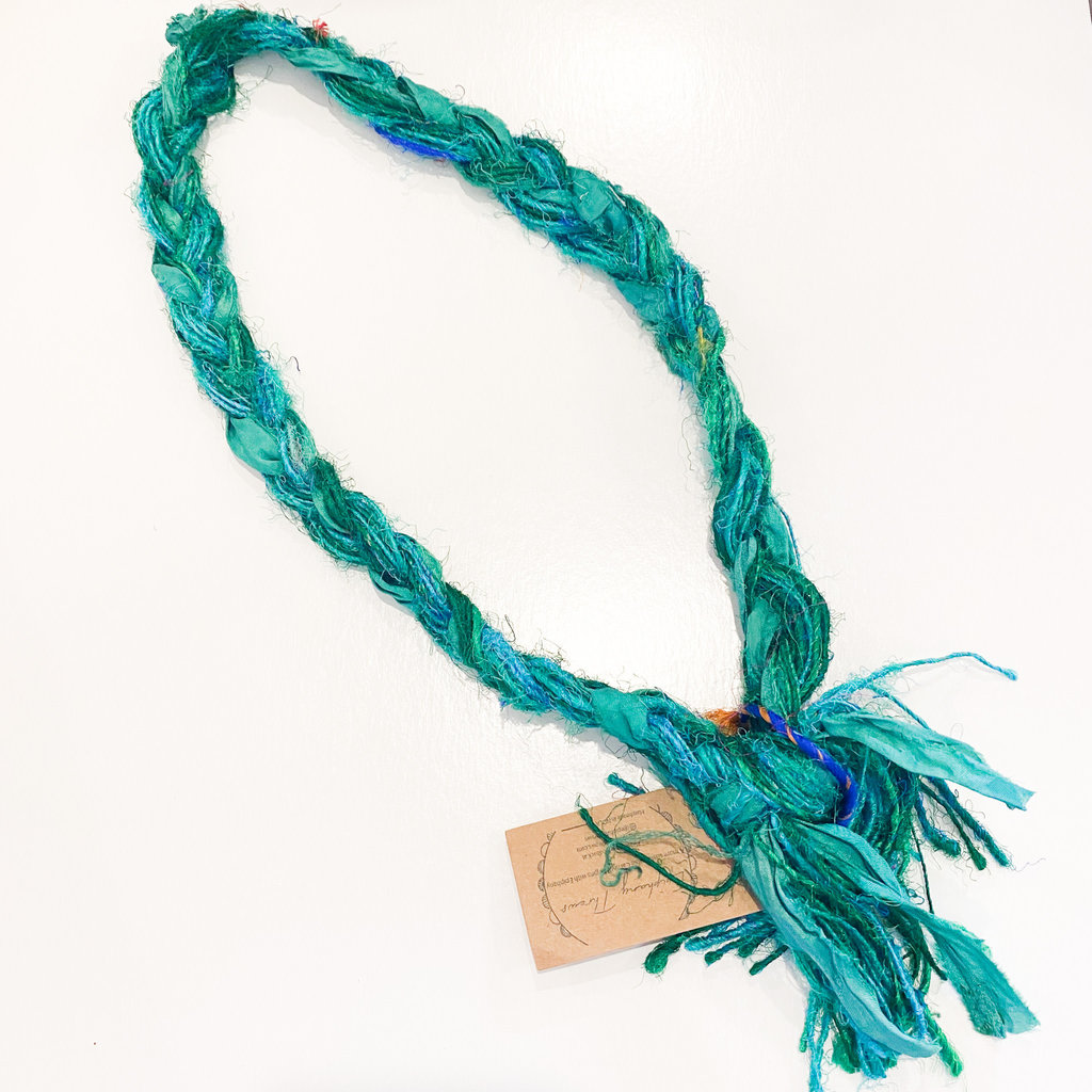 Epiphany Throws Braided Silk Necklace- green