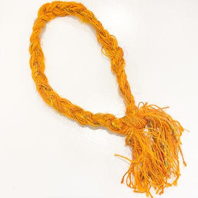 Epiphany Throws Braided Silk Necklace- orange