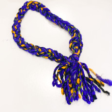 Epiphany Throws Braided Silk Necklace- blue/green/yellow