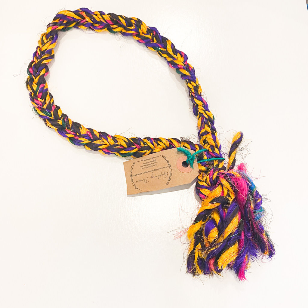 Epiphany Throws Braided Silk Necklace- purple/pink/green/yellow