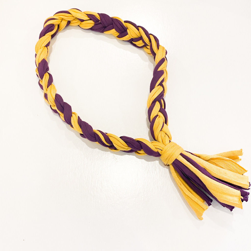 Epiphany Throws Braided ShirtNecklace- purple/yellow