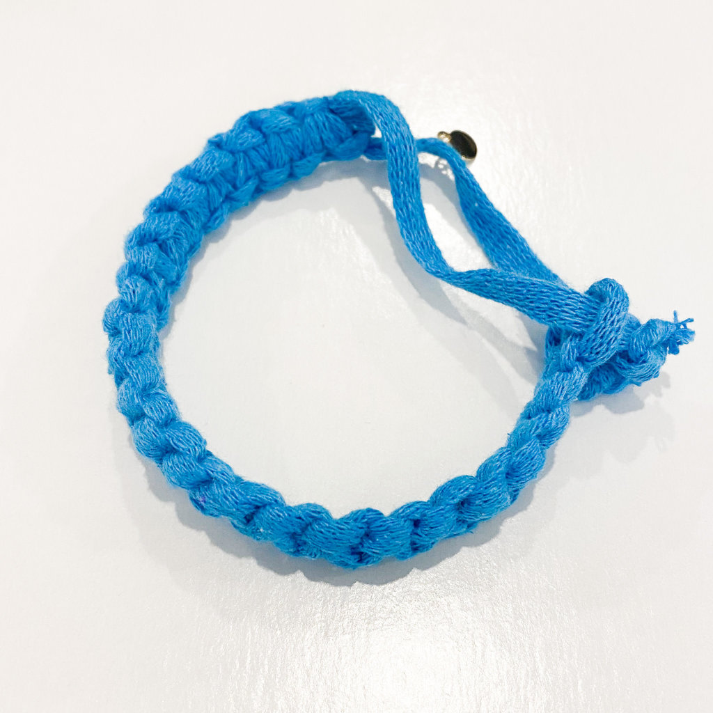 Epiphany Throws Braided Shirt bracelet- blue
