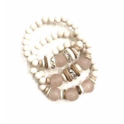 Twine & Twig Trio Stack Bracelet Set - White Blush