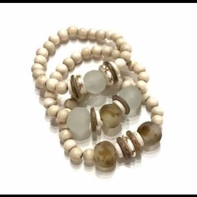 Twine & Twig Trio Stack Bracelet Set - Cream: Camel + Mist