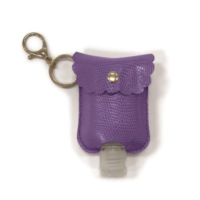 Two's Company Refillable Hand Sanitizer Key Chain Purple