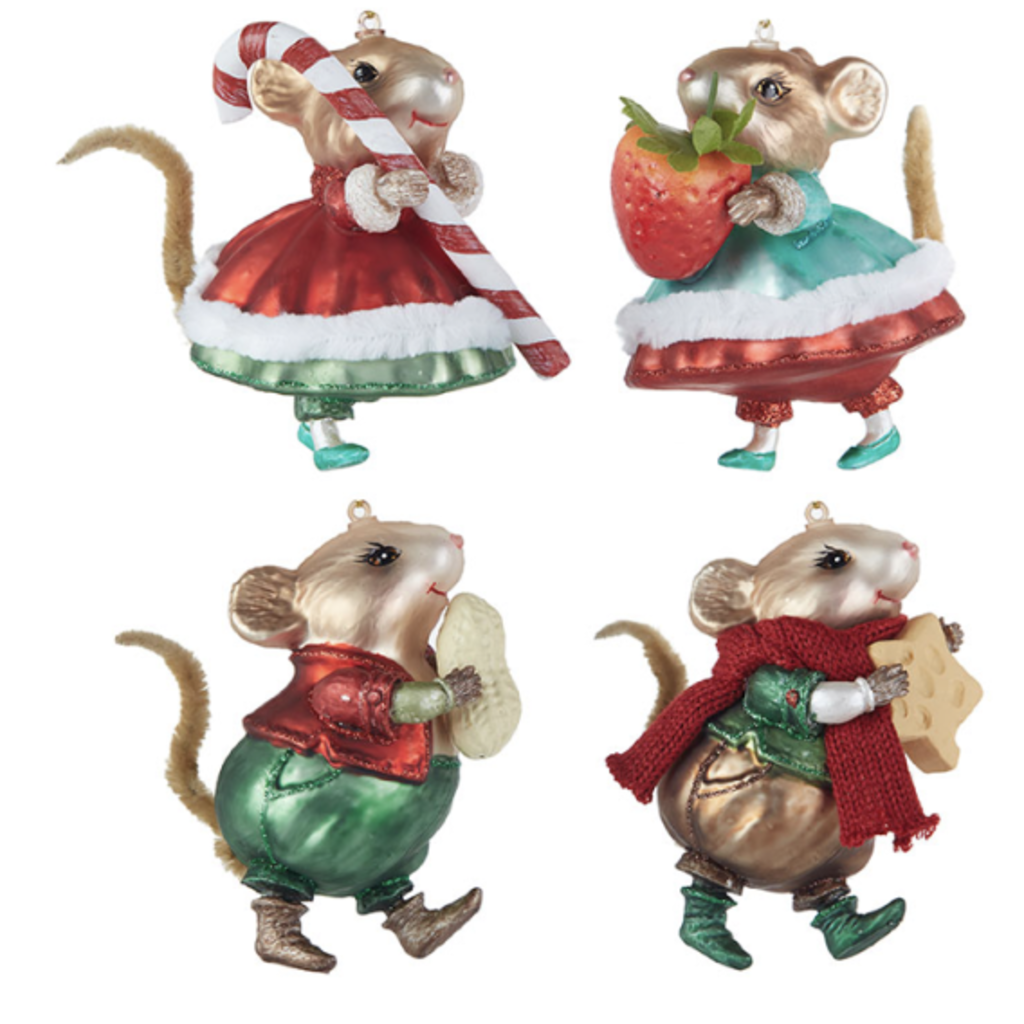 Raz 4'' Mouse Ornament- candy cane