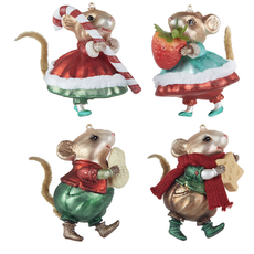 Raz 4'' Mouse Ornament- strawberry