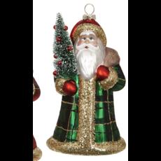 Raz 6.5'' Plaid Santa Ornament- green