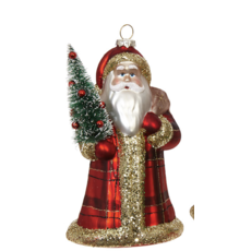 Raz 6.5'' Plaid Santa Ornament-red