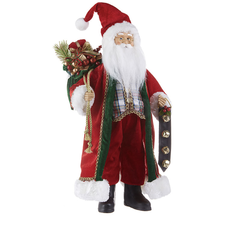 Raz 18'' Santa Holding Bell Cluster and Bag