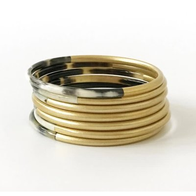 Sunshine Tienda Shiny Gold Horn Bangle Set