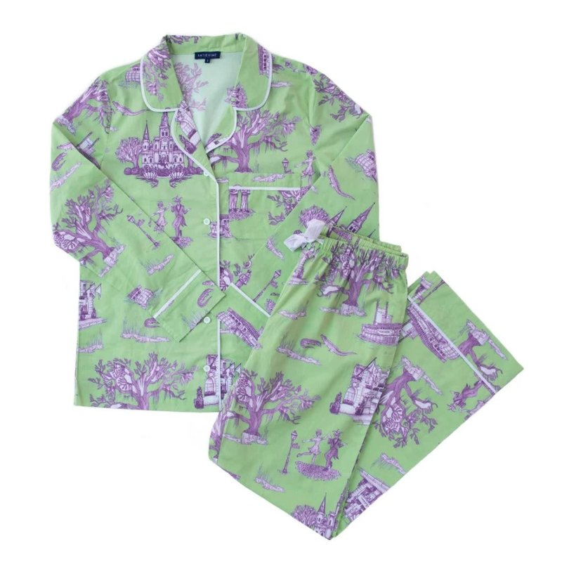 Katie Kime Katie Kime New Orleans Toile Green Long Sleeve