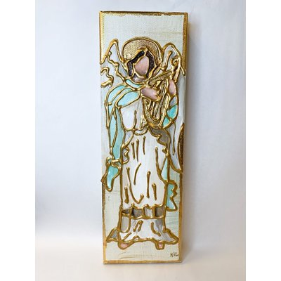 Karen Van Zandt Art 4 x 12 Ivory Angel Harp