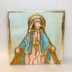 Karen Van Zandt Art 6 x 6 Blue Mary with Rays