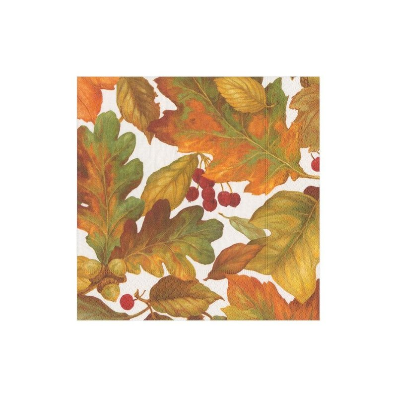 Caspari Autumn Leaves 2 Cocktail Napkin