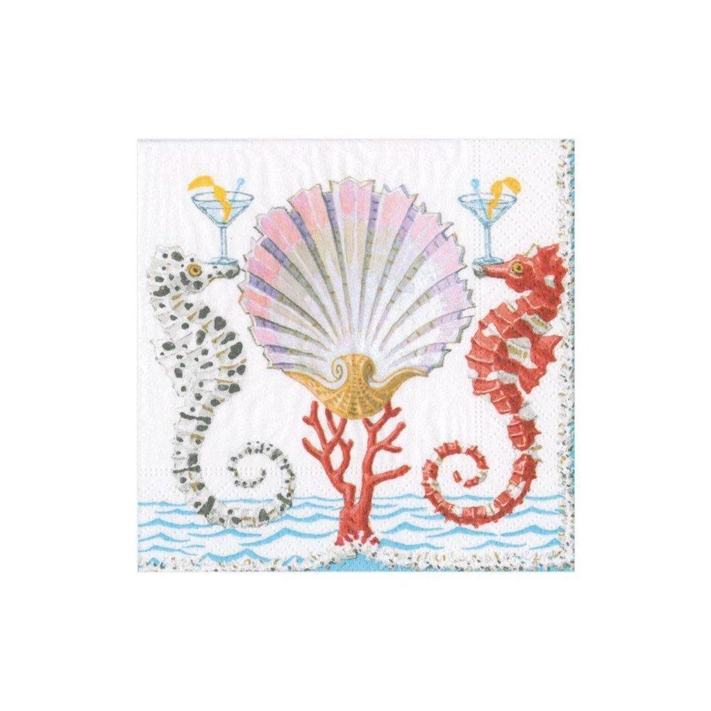 Caspari Seashorses and Shell Napkin Cocktail