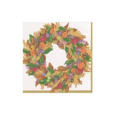 Caspari Autumn Wreath Ivory Cocktail Napkin