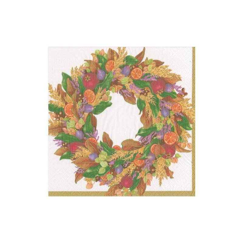 Caspari Autumn Wreath Ivory Cocktail Napkin