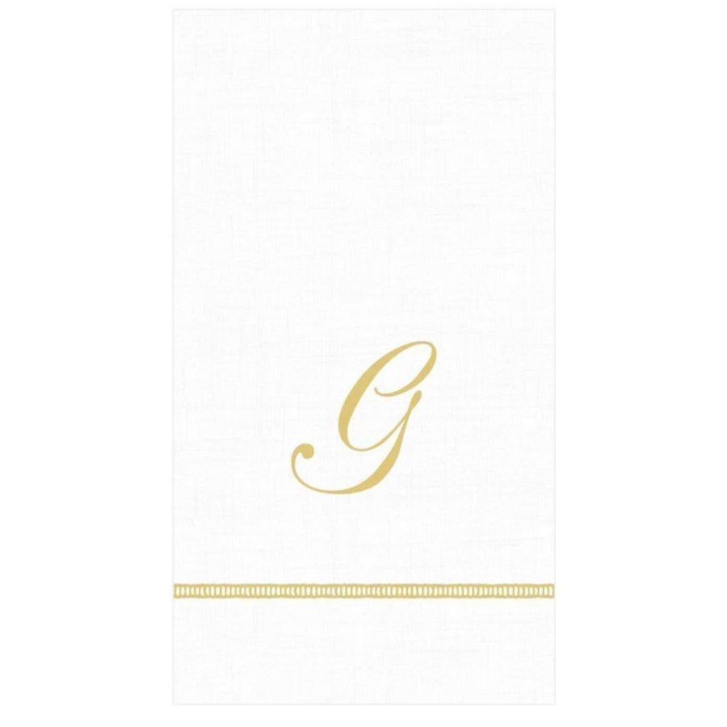 """Caspari Hemstitch Script Single Initial Guest Towel """"G"""""""