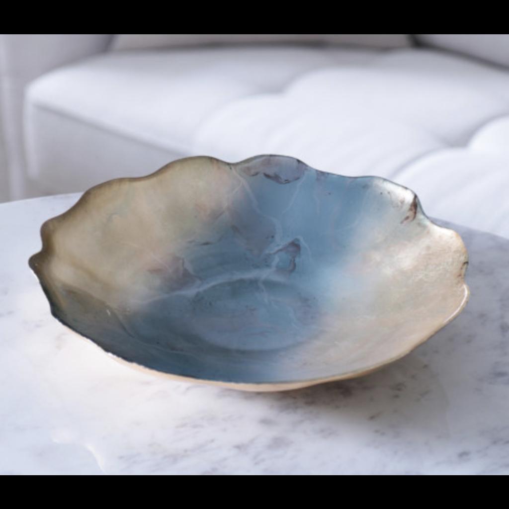 Beatriz Ball NEW ORLEANS Glass light teal gold foil centerpiece w/scalloped edges
