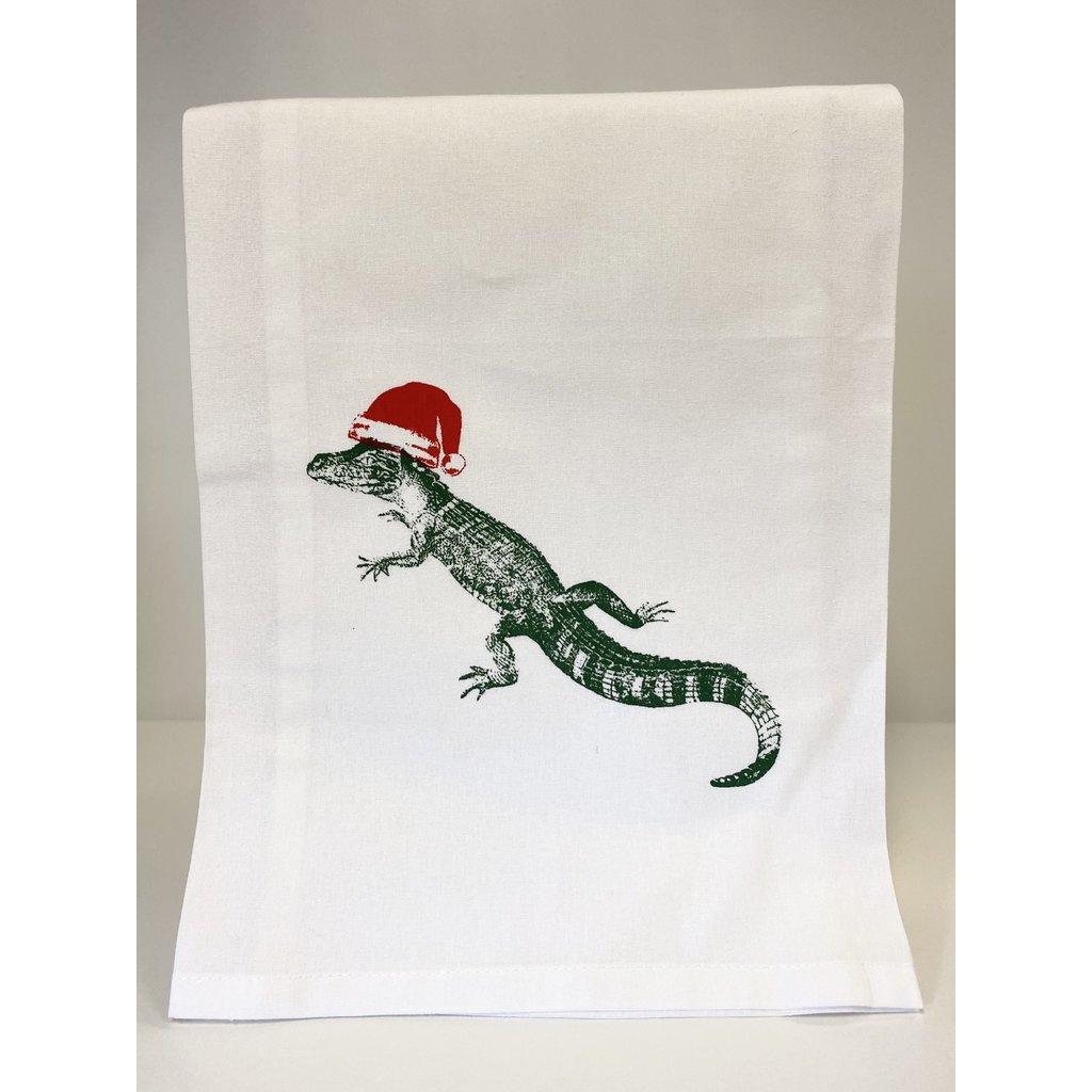 Monique Perry Alligator Santa Hat Tea Towel