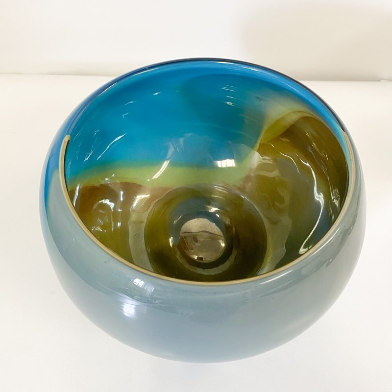 Ridge Walker Glass Small Round Blue Bowl
