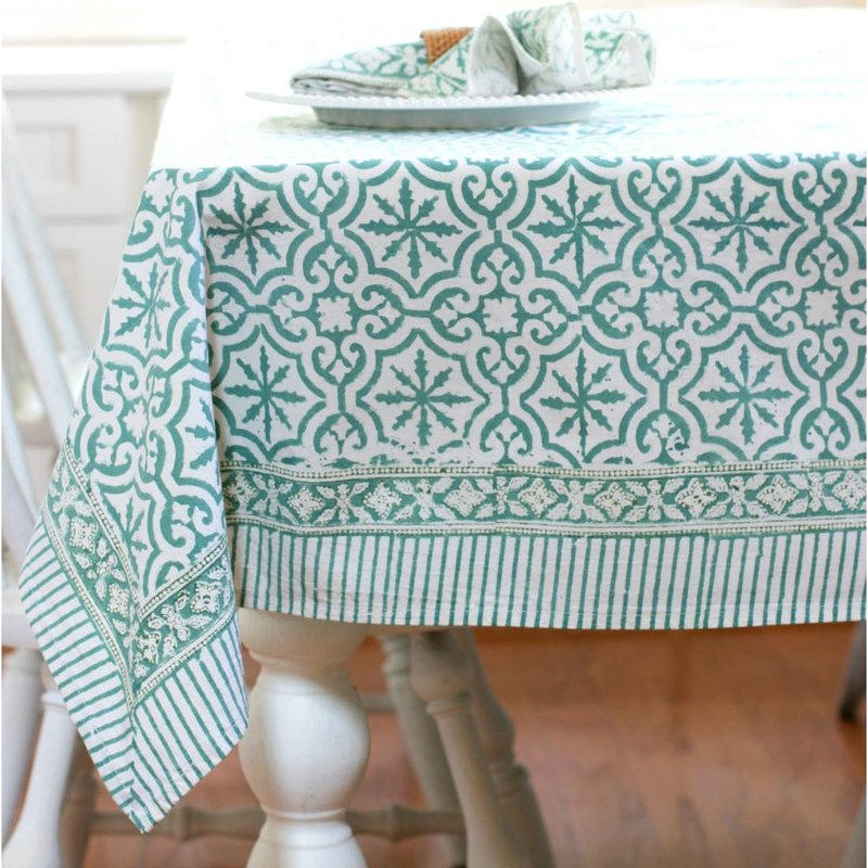 Pacific & Rose Textiles Block Print Table Cloth 60 x 125