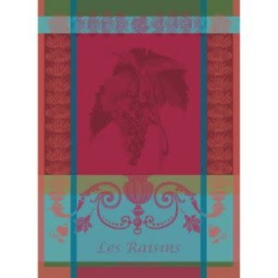 Garnier Thiebaut LES RAISINS LIE DE VIN Kitchen Towel 22''''x30'''', 56cmx77cm, 100% Cotton''