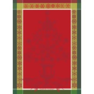 Garnier Thiebaut NOEL BAROQUE ROUGE Kitchen Towel 22''''x30'''', 56cmx77cm, 100% Cotton''