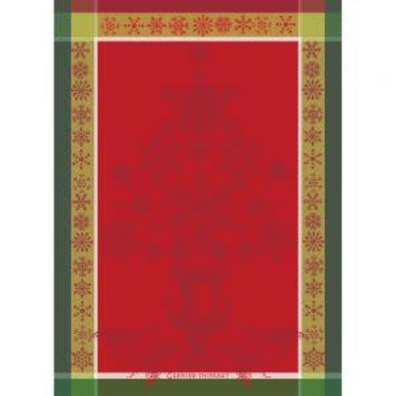 Garnier Thiebaut NOEL BAROQUE ROUGE Kitchen Towel 22''''x30'''', 56cmx77cm, 100% Cotton''