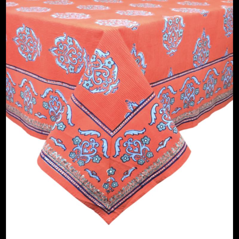 "Pacific & Rose Textiles Block Print James Tablecloth 60""x92"""