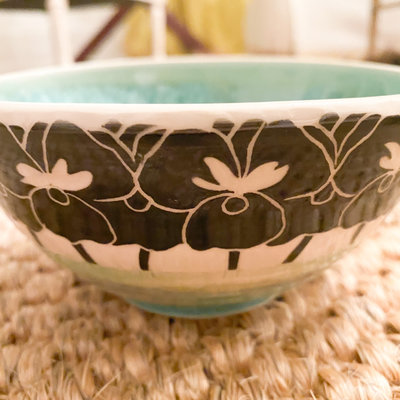 Rachael DePauw Green Pansy Cereal Bowl