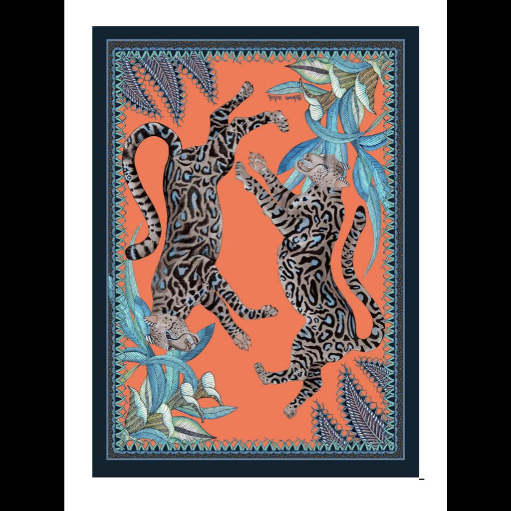 Ngala Trading Cheetah Kings Tea Towel-Coral