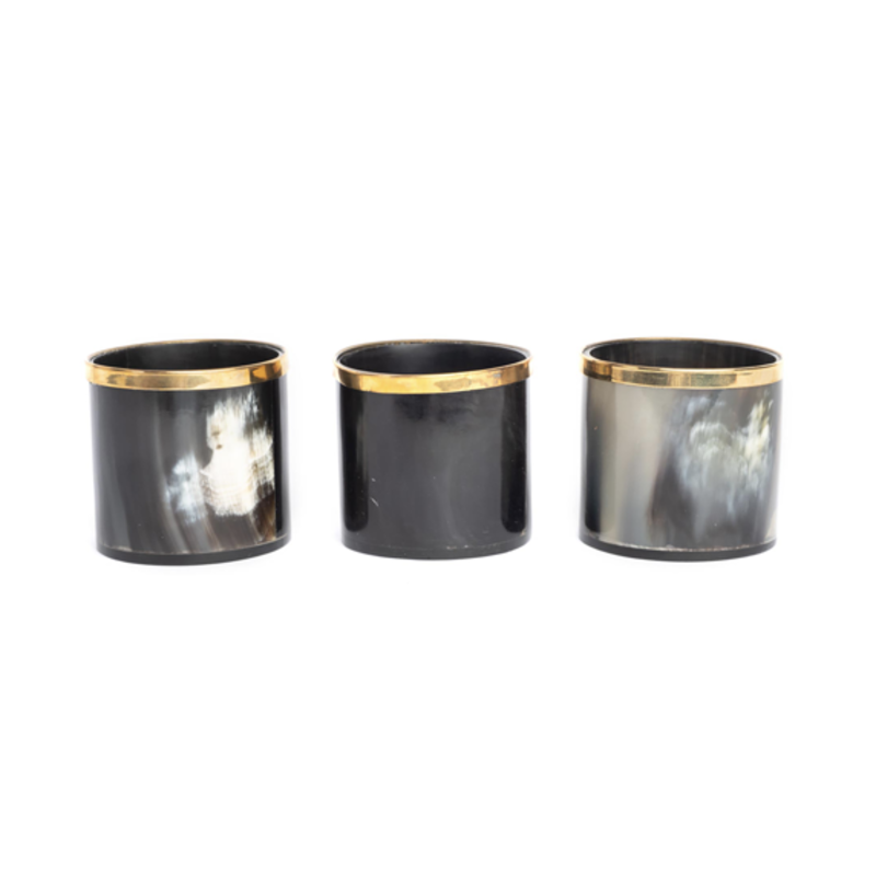 Ngala Trading COW HORN VOTIVE W/ GOLD TRIM