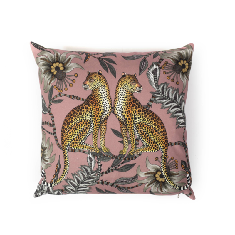 Ngala Trading Zambezi Pillow Lovebird Leopards- Cotton- Magnolia