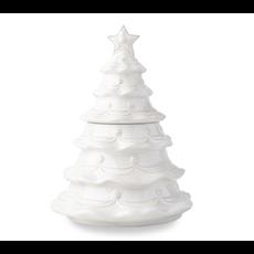 Juliska Christmas Tree Cookie Jar B&T Whitewash