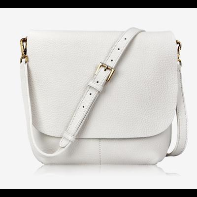 GiGi Handbags Andie Crossbody White Grained Pebble Leather