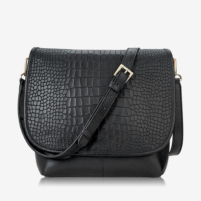 GiGi Handbags Andie Crossbody- Black Croco Leather