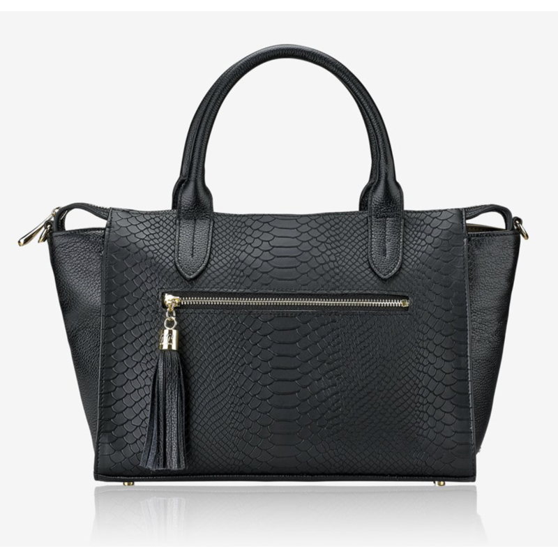 GiGi Handbags Grace Satchel Black Embossed Python Leather