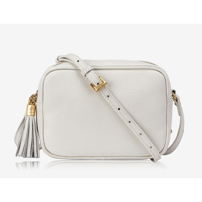 GiGi Handbags Madison Crossbody White Grained Pebble Leather