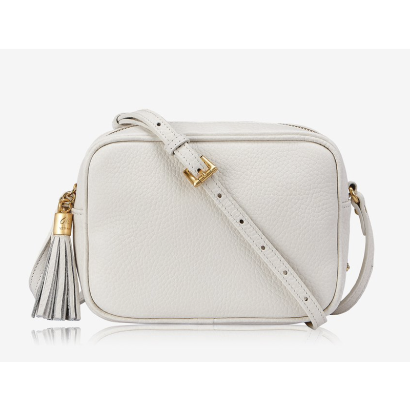 GiGi Handbags Madison Crossbody White Grained Pebble Leather
