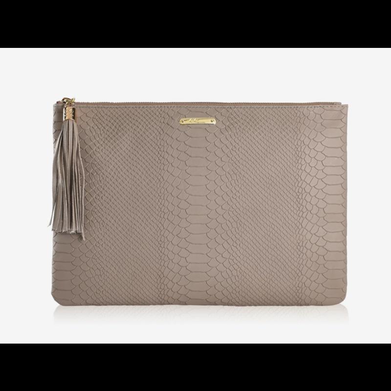 GiGi Handbags Uber Clutch with Slip Pocket Stone Embossed Python