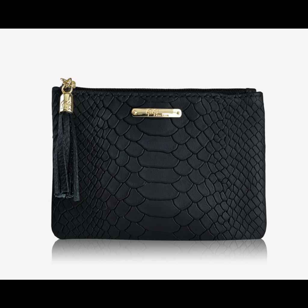 GiGi Handbags Flat Zip Case Black Embossed Python