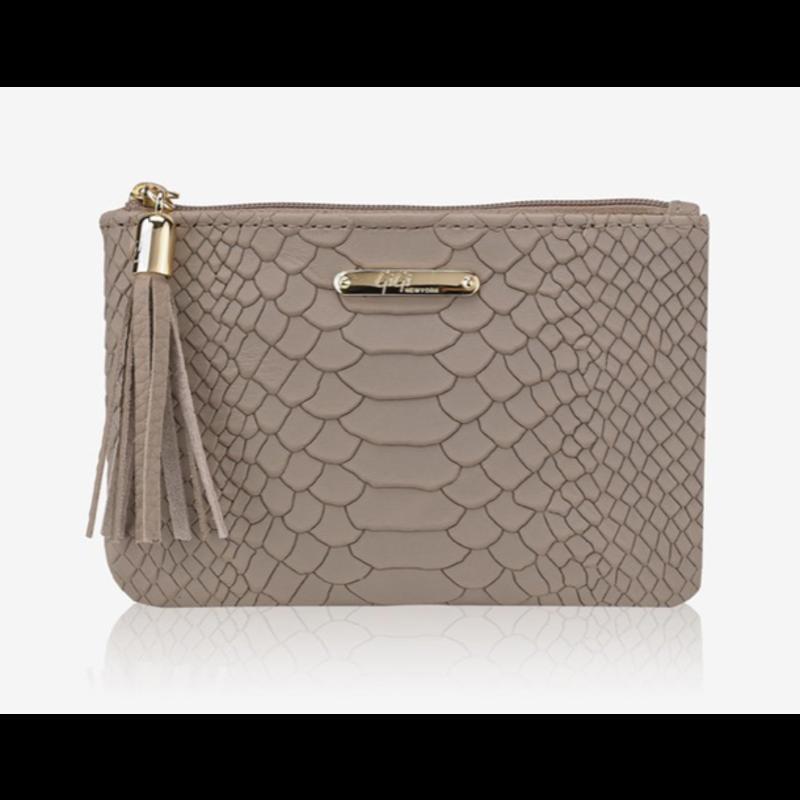 GiGi Handbags Flat Zip Case Stone Embossed Python