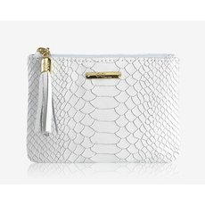 GiGi Handbags Flat Zip Case White Embossed Python