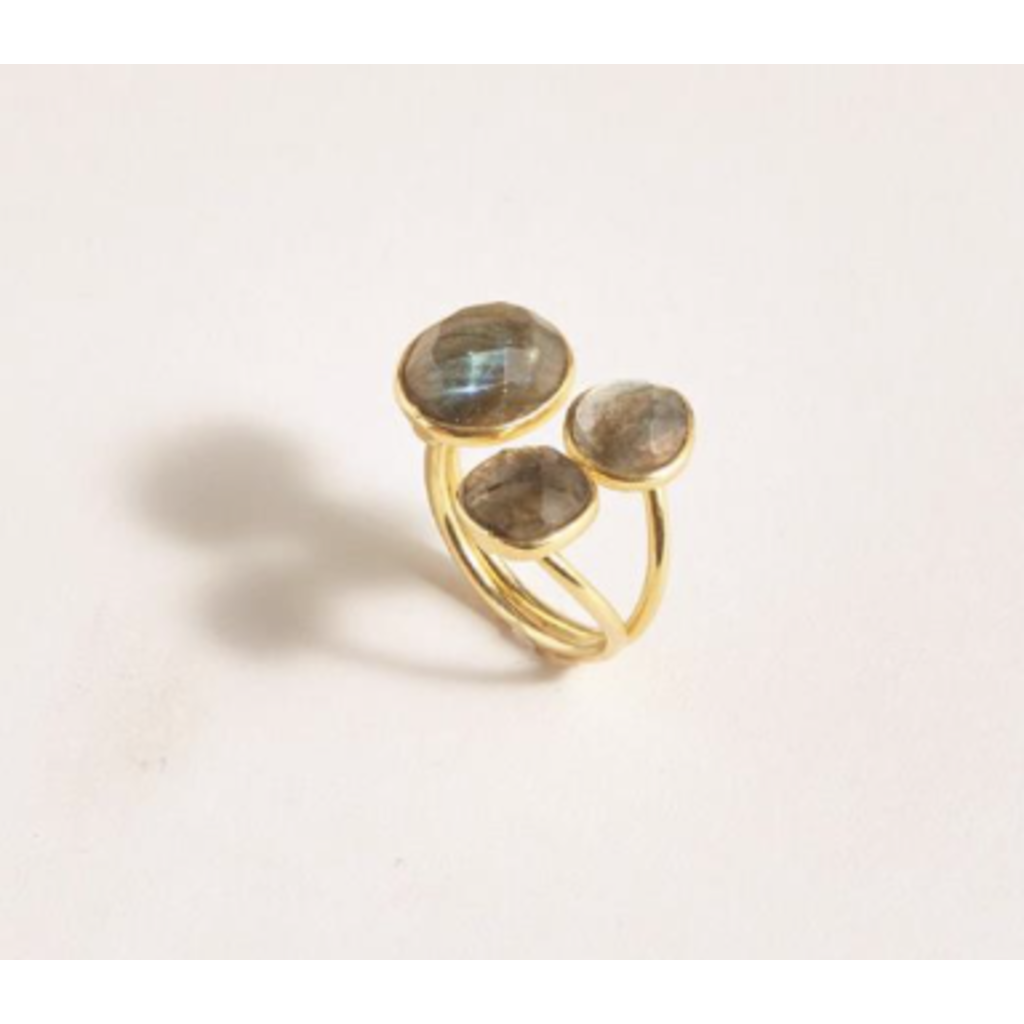 Two's Company Adjustable Labradorite Stone 18K Plated Ring